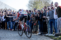 Tiesj Benoot (BEL/Lotto Soudal) up the Oude Kwaremont.<br /> <br /> <br /> 62nd E3 Harelbeke 2019 (1.UWT)<br /> Harelbeke – Harelbeke: 203,9km<br /> ©kramon