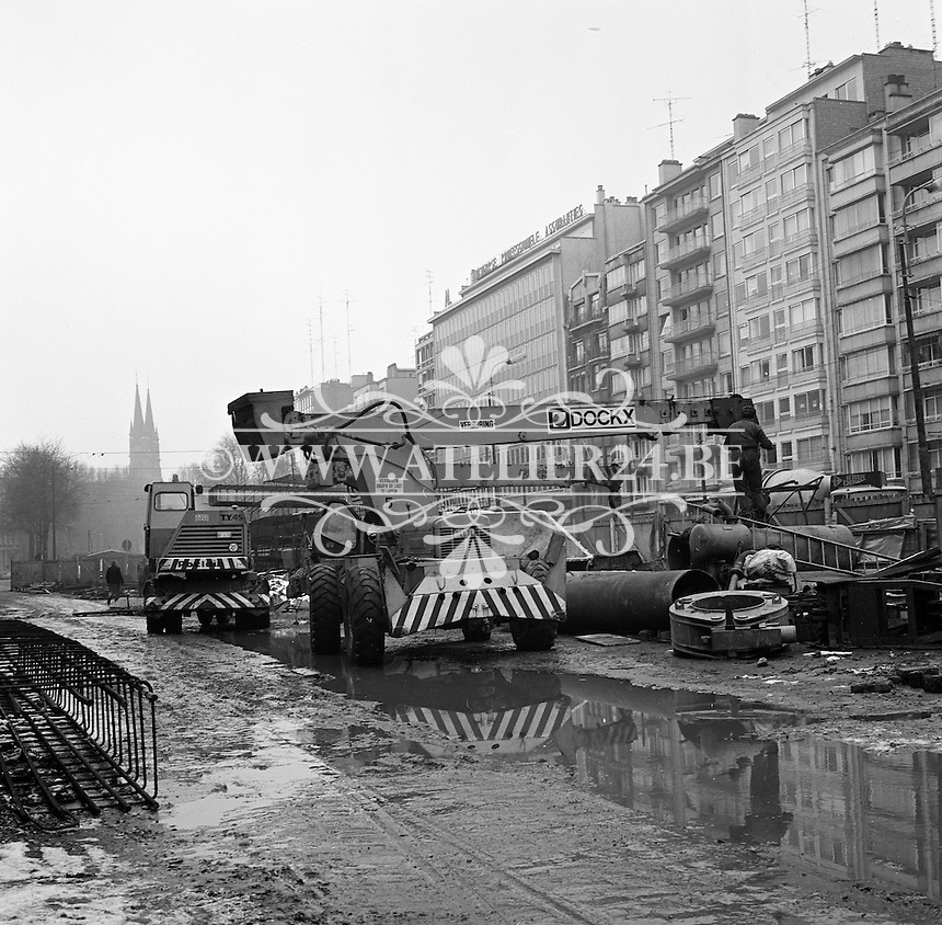 Maart 1971. Bouw premetro in Antwerpen.