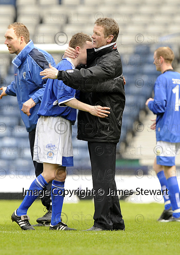 12/04/2008    Copyright Pic: James Stewart.File Name : sct_jspa42_qots_v_aberdeen.QUEEN OF THE SOUTH MANAGER GORDON CHISHOLM CONGRATULATES GOAL SCORER PAUL BURNS AT THE END OF THE GAME.James Stewart Photo Agency 19 Carronlea Drive, Falkirk. FK2 8DN      Vat Reg No. 607 6932 25.Studio      : +44 (0)1324 611191 .Mobile      : +44 (0)7721 416997.E-mail  :  jim@jspa.co.uk.If you require further information then contact Jim Stewart on any of the numbers above........