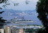 Rio de  Janeiro, Brazil. View of Santos Dumont airport and Marina da Gloria from Santa Teresa.
