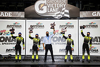 #12: AIM Vasser Sullivan Lexus RC-F GT3, GTD: Frankie Montecalvo, Townsend Bell, #14: AIM Vasser Sullivan Lexus RC-F GT3, GTD: Jack Hawksworth, Aaron Telitz, podium with Jeff Bal of Lexus