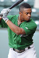 Infielder Delino DeShields, Jr. (4) of the Lexington Legends, a Houston Astros affiliate, prior to a game against the Greenville Drive on May 2, 2012, at Fluor Field at the West End in Greenville, South Carolina. DeShields Jr. is the No. 8 prospect for the Astros, according to Baseball America. Lexington won, 4-2. (Tom Priddy/Four Seam Images)