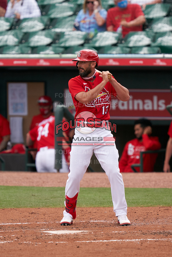 St. Louis Cardinals Matt Carpenter (13) bats during a Major League Spring Training game against the Houston Astros on March 20, 2021 at Roger Dean Stadium in Jupiter, Florida.  (Mike Janes/Four Seam Images)