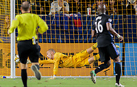 CARSON, CA - SEPTEMBER 21: Evan Bush #1 of Montreal Impact dives for a ball during a game between Montreal Impact and Los Angeles Galaxy at Dignity Health Sports Park on September 21, 2019 in Carson, California.