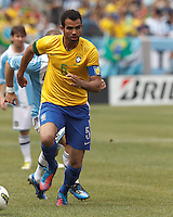 Brazil midfielder Sandro (5) brings the ball forward. In an international friendly (Clash of Titans), Argentina defeated Brazil, 4-3, at MetLife Stadium on June 9, 2012.