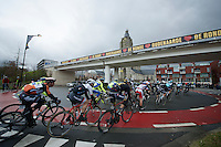 peloton races through Oudenaarde<br /> <br /> 70th Dwars Door Vlaanderen 2015