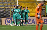 BOGOTA -COLOMBIA, 18-09-2020:Matias Mier de Equidad celebra después de anotar el primer gol olimpíco de su equipo durante el partido entre La Equidad y Boyacá Chicó por la fecha 9 de la Liga BetPlay DIMAYOR I 2020 jugado en el estadio Estadio Metroplitano de Techo de la ciudad de Bogotá. / Matias Mier of La Equidad celebrates after scoring the first goal of his team during match between La Equidad and Boyaca Chico for the date 9 BetPlay DIMAYOR League I 2020 played at Metropolitano de Techo stadium in Bogota city city. Photo: VizzorImage/ Felipe Caicedo / Staff
