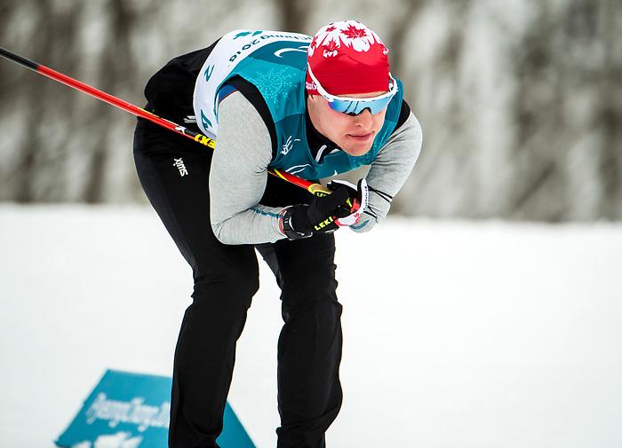 Mark Arendz, PyeongChang 2018 - Para Nordic Skiing // Ski Paranordique.<br /> Team Canada during a biathlon/cross country training session // Équipe Canada lors d'une séance d'entraînement de biathlon / cross-country. 09/03/2018.