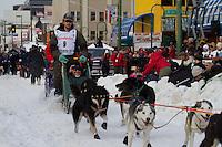 2010 Iditarod Ceremonial Start in Anchorage Alaska musher # 9 RAY REDINGTON , JR with Iditarider PAM MOORE BINEK