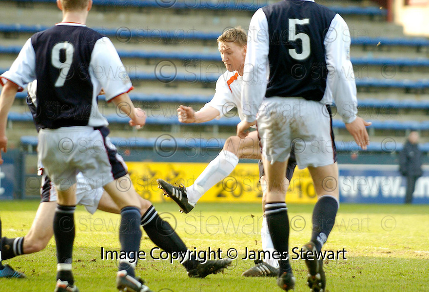 19/03/2005         Copyright Pic : James Stewart.File Name : jspa01_raith_v_falkirk.DANIEL  MCBREEN SCORES THE FIRST FOR FALKIRK.Payments to :.James Stewart Photo Agency 19 Carronlea Drive, Falkirk. FK2 8DN      Vat Reg No. 607 6932 25.Office     : +44 (0)1324 570906     .Mobile   : +44 (0)7721 416997.Fax         : +44 (0)1324 570906.E-mail  :  jim@jspa.co.uk.If you require further information then contact Jim Stewart on any of the numbers above.........A