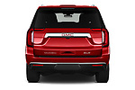 Straight rear view of 2021 GMC Yukon SLT 5 Door SUV Rear View  stock images