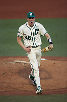 Charlotte 49ers relief pitcher Sam Grace (48) reacts after getting the third out of an inning against the Tennessee Volunteers at Hayes Stadium on March 9, 2021 in Charlotte, North Carolina. The 49ers defeated the Volunteers 9-0. (Brian Westerholt/Four Seam Images)