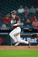 Justin Foscue (17) of the Mississippi State Bulldogs follows through on his swing against the Louisiana Ragin' Cajuns in game three of the 2018 Shriners Hospitals for Children College Classic at Minute Maid Park on March 2, 2018 in Houston, Texas.  The Bulldogs defeated the Ragin' Cajuns 3-1.   (Brian Westerholt/Four Seam Images)