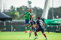 LAKE BUENA VISTA, FL - JULY 14: Nicolas Lodeiro #10 of the Seattle Sounders heads the ball during a game between Seattle Sounders FC and Chicago Fire at Wide World of Sports on July 14, 2020 in Lake Buena Vista, Florida.
