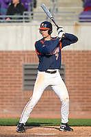Jarrett Parker #3 of the Virginia Cavaliers at bat versus the East Carolina Pirates at Clark-LeClair Stadium on February 19, 2010 in Greenville, North Carolina.   Photo by Brian Westerholt / Four Seam Images