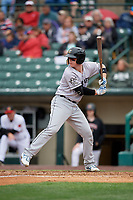 Charlotte Knights Zack Collins (8) at bat during an International League game against the Rochester Red Wings on June 16, 2019 at Frontier Field in Rochester, New York.  Rochester defeated Charlotte 3-2 in the second game of a doubleheader.  (Mike Janes/Four Seam Images)