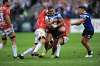 Joe Cokanasiga of Bath Rugby is tackled by Ed Slater and Ruan Ackermann of Gloucester Rugby during the Gallagher Premiership Rugby match between Bath Rugby and Gloucester Rugby at The Recreation Ground on Saturday 8th September 2018 (Photo by Rob Munro/Stewart Communications)