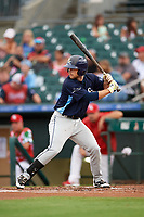Charlotte Stone Crabs second baseman Brandon Lowe (5) at bat during a game against the Palm Beach Cardinals on July 22, 2017 at Roger Dean Stadium in Palm Beach, Florida.  Charlotte defeated Palm Beach 5-2.  (Mike Janes/Four Seam Images)