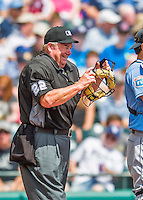 14 March 2016: MLB Umpire Joe West works behind the plate during a Spring Training pre-season game between the Tampa Bay Rays and the Atlanta Braves at Champion Stadium in the ESPN Wide World of Sports Complex in Kissimmee, Florida. The Braves shut out the Rays 5-0 in Grapefruit League play. Mandatory Credit: Ed Wolfstein Photo *** RAW (NEF) Image File Available ***
