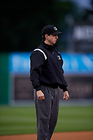 Umpire Ethan Gorsak during a NY-Penn League Semifinal Playoff game between the Lowell Spinners and Batavia Muckdogs on September 4, 2019 at Dwyer Stadium in Batavia, New York.  Batavia defeated Lowell 4-1.  (Mike Janes/Four Seam Images)
