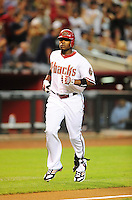 Jun. 21, 2010; Phoenix, AZ, USA; Arizona Diamondbacks outfielder Justin Upton rounds the bases after hitting a home run in the first inning against the New York Yankees at Chase Field. Mandatory Credit: Mark J. Rebilas-