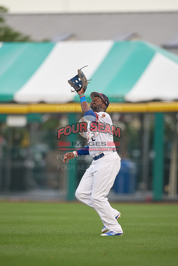 Buffalo Bisons right fielder Dwight Smith Jr. (2) catches a fly ball during a game against the Syracuse Chiefs on June 30, 2017 at Coca-Cola Field in Buffalo, New York.  Syracuse defeated Buffalo 8-1.  (Mike Janes/Four Seam Images)