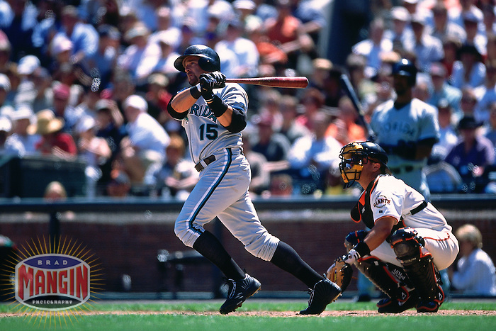 SAN FRANCISCO, CA - Kevin Millar of the Florida Marlins bats during a game against the San Francisco Giants at Candlestick Park in San Francisco, California in 2001. (Photo by Brad Mangin)