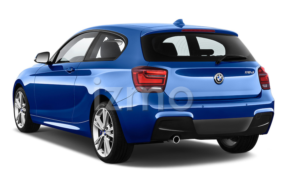 Rear three quarter view of a 2012 - 2014 BMW 1-Series 118d M Sport 3 Door Hatchback 2WD.