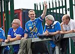 Glentoran v St Johnstone…. 09.07.16  The Oval, Belfast  Pre-Season Friendly<br />Travelling saints fan Jason Christie shows off his St Johnstone glory hunter shirt<br />Picture by Graeme Hart.<br />Copyright Perthshire Picture Agency<br />Tel: 01738 623350  Mobile: 07990 594431