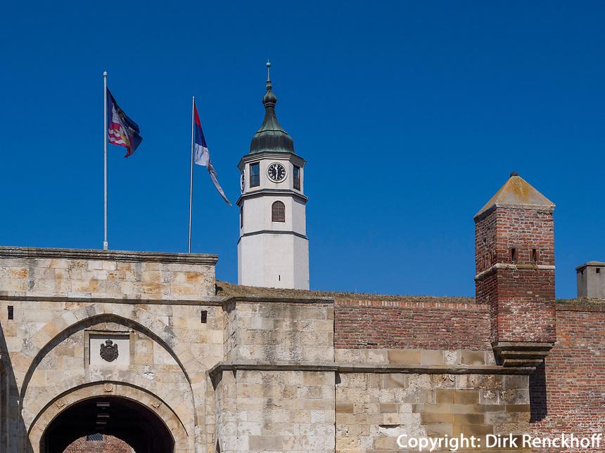Tor und Uhrturm der Festung Kalemegdan, Belgrad, Serbien, Europa<br /> Gate and clocktower of the  fortress,  Belgrade, Serbia, Europe