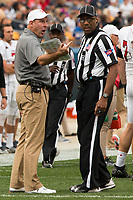 Youngstown State head coach Bo Pellini has a word with linesman judge Arthur Hardin. The Pitt Panthers defeated the Youngstown State Penguins 28-21 in overtime at Heinz Field, Pittsburgh, Pennsylvania on September 02, 2017.