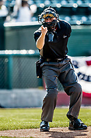 20 June 2021: Umpire Randall Yandow works home plate during a game between the Vermont Lake Monsters and the Westfield Starfires at Centennial Field in Burlington, Vermont. The Starfires defeated the Vermont Lake Monsters 10-2 at Centennial Field, in Burlington, Vermont. Mandatory Credit: Ed Wolfstein Photo *** RAW (NEF) Image File Available ***