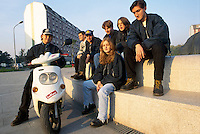 - young people in Barona district of Milan....- giovani nel quartiere Barona a Milano