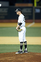 Wake Forest Demon Deacons starting pitcher Griffin Roberts (43) looks to his catcher for the sign against the Florida State Seminoles at David F. Couch Ballpark on March 9, 2018 in  Winston-Salem, North Carolina.  The Seminoles defeated the Demon Deacons 7-3.  (Brian Westerholt/Four Seam Images)