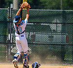WATERBURY, CT 072821JS07 Michigan Bulls' catcher Alex Thompson (13) makes a catch behind home plate to end a bases-loaded threat during their game against the CT Gamecocks in the opening round of the Mickey Mantle World Series at Municipal Stadium in Waterbury. <br /> Jim Shannon Republican American