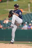 New Hampshire Fisher Cats pitcher Fernando Hernandez #16 delivers a pitch during a game against the Bowie Baysox at Prince George's Stadium on June 17, 2012 in Bowie, Maryland. New Hampshire defeated Bowie 4-3 in 13 innings. (Brace Hemmelgarn/Four Seam Images)