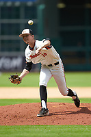 Sam Houston State Bearkats relief pitcher Kyle Backhus (19) delivers a pitch to the plate against the Vanderbilt Commodores in game one of the 2018 Shriners Hospitals for Children College Classic at Minute Maid Park on March 2, 2018 in Houston, Texas. The Bearkats walked-off the Commodores 7-6 in 10 innings.   (Brian Westerholt/Four Seam Images)