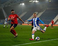 7th November 2020 The John Smiths Stadium, Huddersfield, Yorkshire, England; English Football League Championship Football, Huddersfield Town versus Luton Town; Lewis O'Brien of Huddersfield Town attacks Matty Pearson of Luton Town  in the box