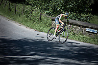 Kenny Molly (BEL/Wallonie Bruxelles) shows signs of a crash already early race. He will try to limit the damage throughout the race but will not be able to finish... So much respect for this guy.<br /> <br /> Baloise Belgium Tour 2019<br /> Stage 4: Seraing – Seraing 151.1km<br /> ©kramon
