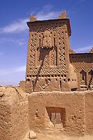 Near Skoura, Morocco - Mud-Brick (Adobe) Construction and Decoration, Kasbah Ameridhil.