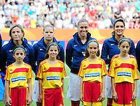 Fifa Women's World Cup Germany 2011 : Zweden - France Frankrijk at Sinsheim World Cup stadium : Sonia Bompastor , Eugenie Le Sommer , Camille Abily et Louisa Necib.foto DAVID CATRY / Vrouwenteam.be