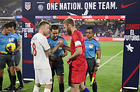 ORLANDO, FL - NOVEMBER 15: Captains Scott Arfield #8 of Canada and  Tim Ream #13 of the United States exchange banners during a game between Canada and USMNT at Exploria Stadium on November 15, 2019 in Orlando, Florida.