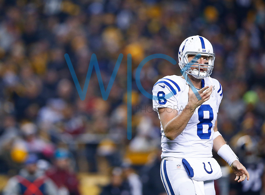 Matt Hasselbeck #8 of the Indianapolis Colts looks on in the first quarter against the Pittsburgh Steelers during the game at Heinz Field on December 6, 2015 in Pittsburgh, Pennsylvania. (Photo by Jared Wickerham/DKPittsburghSports)