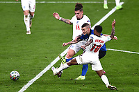 11th July 2021; Wembley Stadium, London, England; 2020 European Football Championships Final England versus Italy; Kalvin Phillips covers as Marco Verratti and Raheem Sterling challenge for the ball