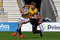 13th September 2020; AJ Bell Stadium, Salford, Lancashire, England; English Premiership Rugby, Sale Sharks versus Bath; Ruaridh McConnochie of Bath Rugby is tackled by Manu Tuilagi of Sale Sharks