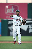 Osvaldo Duarte (6) of the Lancaster JetHawks makes a throw during a game against the Lake Elsinore Storm at The Hanger on August 2, 2016 in Lancaster, California. Lake Elsinore defeated Lancaster, 10-9. (Larry Goren/Four Seam Images)