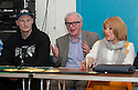 Gary Cornish, Tommy Gilmour and Kellie Maloney at the press conference to announce current English Heavyweight title holder, John McDermott as <br /> Cornish's next opponent.