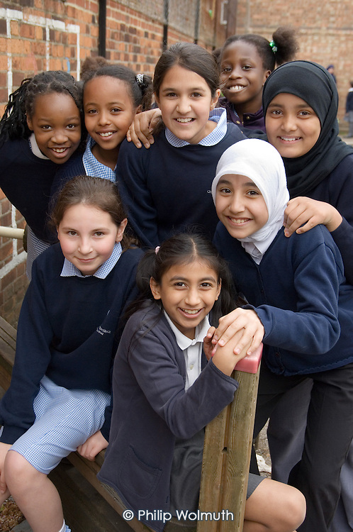 Playtime at Christ Church Bentinck Church of England Primary School, Westminster, London.