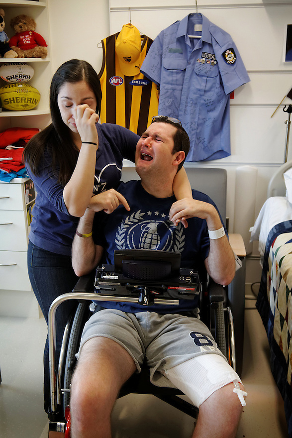 Tonii Misitano and Ryan Marron become emotional after Toni described their situation. Ryan contracted Murray River encephalitis whilst serving as a police officer in Halls Creek, and is receiving treatment at a Chicago rehabilitation hospital.