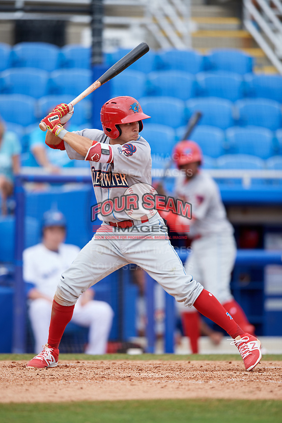 Clearwater Threshers second baseman Jose Gomez (3) at bat during a game against the Dunedin Blue Jays on April 8, 2018 at Dunedin Stadium in Dunedin, Florida.  Dunedin defeated Clearwater 4-3.  (Mike Janes/Four Seam Images)